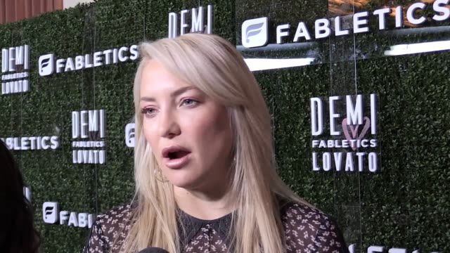 "kate hudson and demi lovato have said that their new ""athleisure"" range started with a chance encounter in a gym the collaboration between hudson's... - kate hudson stock videos & royalty-free footage"