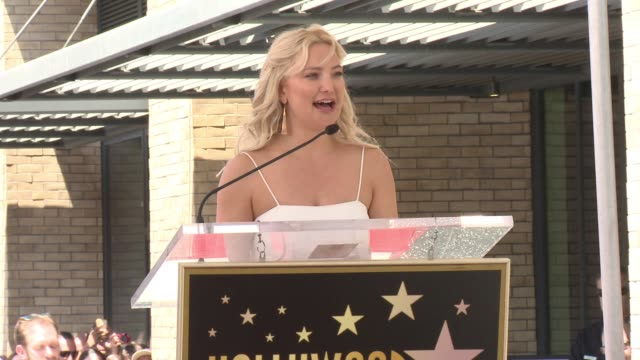 speech kate hudson at the walk of fame to honor goldie hawn and kurt russell with special double star ceremony on may 4 2017 in hollywood california - kate hudson stock videos & royalty-free footage