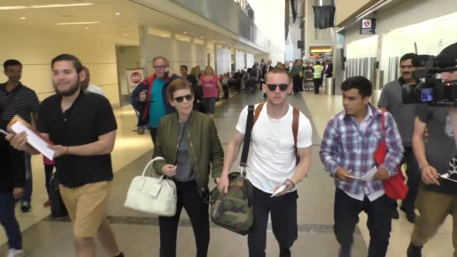 kate mara jamie bell departing at lax airport in los angeles in celebrity sightings in los angeles - kate mara stock videos and b-roll footage