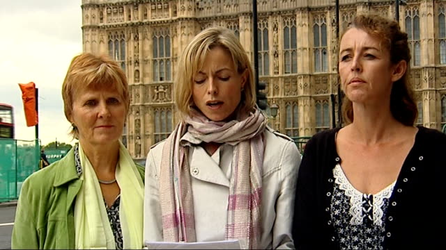 kate mccann wants governmental support for families of missing people; london: westminster: ext from l-r mothers whose children are missing sarah... - missing people stock videos & royalty-free footage