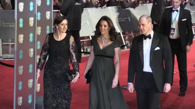 kate middleton and prince william arriving at 2018 bafta award ceremony in london london uk 18th february 2018 - duchess of cambridge stock videos & royalty-free footage