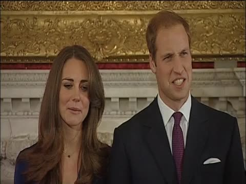 kate middleton talks of prince william's proposal during a press conference and photocall announcing their engagement at st james's palace - fiancé stock videos and b-roll footage