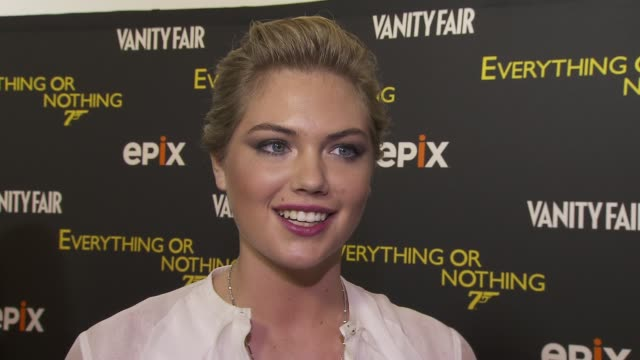 kate upton on pierce brosnan being her favorite bond on whether she'd play a bond girl at epix and vanity fair present the premiere of everything or... - bond girl fictional character stock videos & royalty-free footage