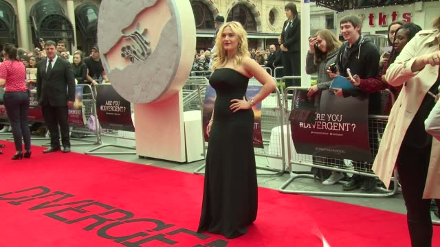 kate winslet at 'divergent' uk film premiere at odeon leicester square on march 30 2014 in london england - kate winslet stock-videos und b-roll-filmmaterial