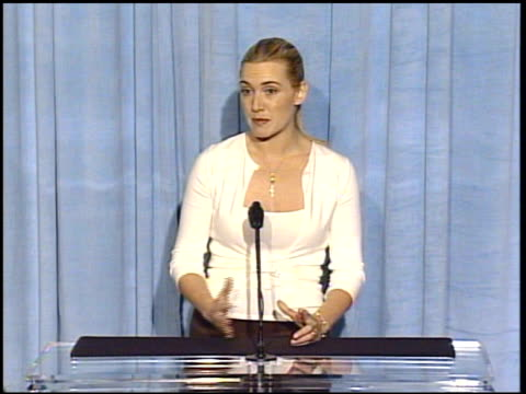 kate winslet at the 2005 annual academy awards nominee luncheon interview room at the beverly hilton in beverly hills, california on february 7, 2005. - kate winslet stock videos & royalty-free footage