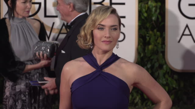 kate winslet at the 73rd annual golden globe awards - arrivals at the beverly hilton hotel on january 10, 2016 in beverly hills, california. 4k... - kate winslet stock videos & royalty-free footage