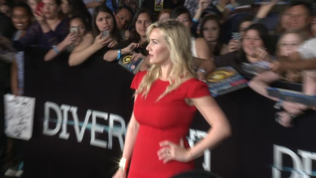 "kate winslet at the ""divergent"" los angeles premiere at regency bruin theatre on march 18, 2014 in los angeles, california. - kate winslet stock videos & royalty-free footage"