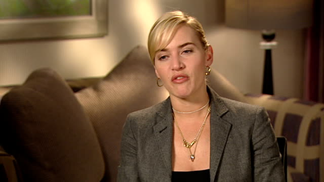 kate winslet interview; winslet interview sot - very excited to be working with leonardo dicaprio on 'revolutionary road' / remained friends since... - kate winslet stock videos & royalty-free footage