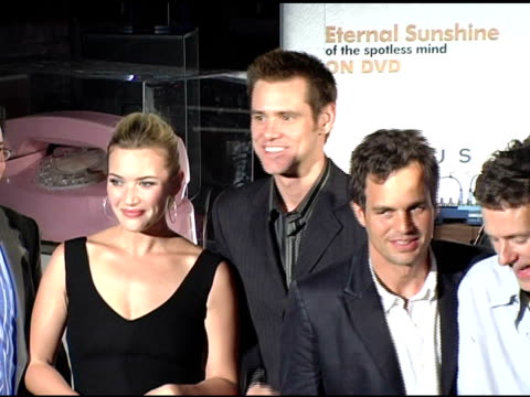 kate winslet jim carrey and mark ruffalo at the 'eternal sunshine of the spotless mind' dvd launch party at the los angeles county museum of art in... - mark ruffalo stock videos and b-roll footage