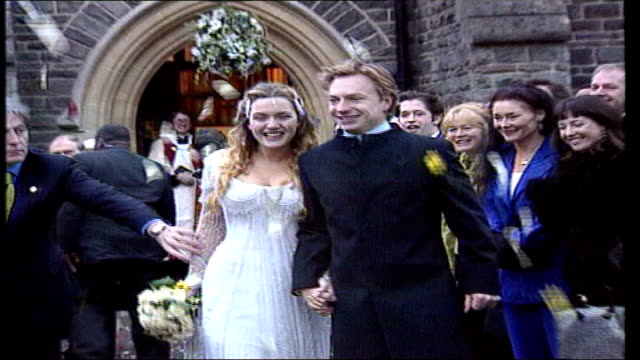 kate winslet marries sam mendes lib winslet and first husband jim threapleton away from church after wedding pull out - kate winslet stock-videos und b-roll-filmmaterial