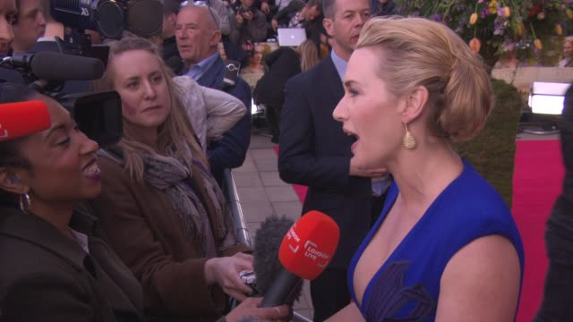 interview kate winslet on being back in the again in a film at 'little chaos premiere' at odeon kensington on april 13 2015 in london england - kate winslet stock-videos und b-roll-filmmaterial