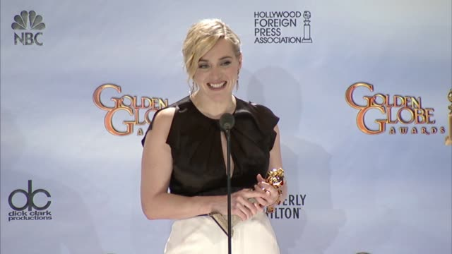 kate winslet on how she wants to play a man in a film at 69th annual golden globe awards - press room on 1/15/2012 in beverly hills, ca. - kate winslet stock videos & royalty-free footage