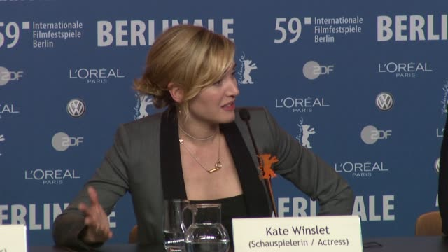 kate winslet on how stephen daldry compares to her husband sam mendes at the 59th berlin film festival: the reader press conference at berlin . - sam mendes stock videos & royalty-free footage