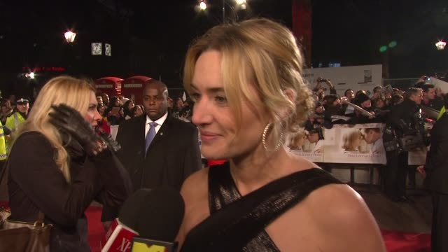 kate winslet on on how much she learned about her husband sam mendes at the uk revolutionary road premiere at london - kate winslet stock videos and b-roll footage