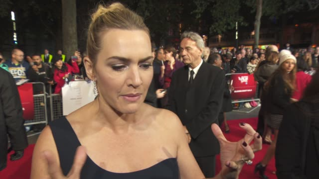kate winslet on sending photos of herself to the producers to get the part, noting looking like joanna hoffman, her character love for steve jobs at... - kate winslet stock videos & royalty-free footage