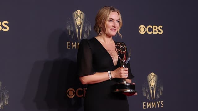 kate winslet, winner of outstanding lead actress in a limited series or movie for 'mare of easttown,' poses in the press room during the 73rd... - emmy awards stock videos & royalty-free footage