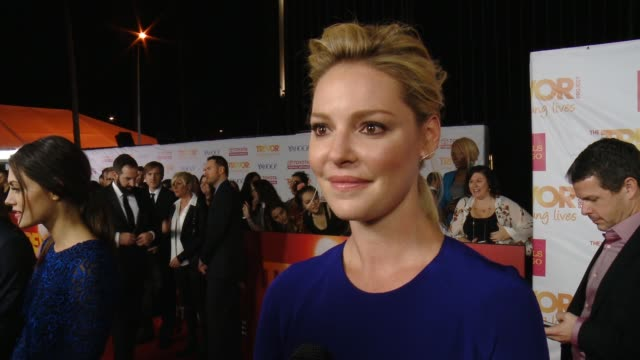 interview katherine heigl on supporting the cause on her new show and on her holiday plans at 16th annual trevor project benefit presented by wells... - markenname stock-videos und b-roll-filmmaterial