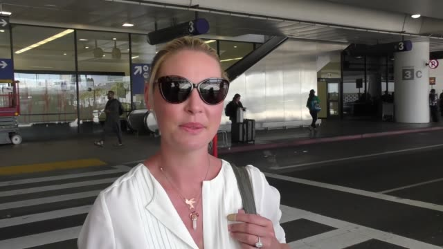 INTERVIEW Katherine Heigl talks about how much she loves acting if she gets paid fair compared to men while arriving at LAX Airport in Los Angeles in...