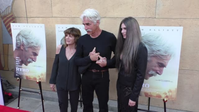 katherine ross, sam elliott and cleo elliott at the premiere of the orchard's 'the hero' - arrivals on june 05, 2017 in hollywood, california. - sam elliott stock videos & royalty-free footage