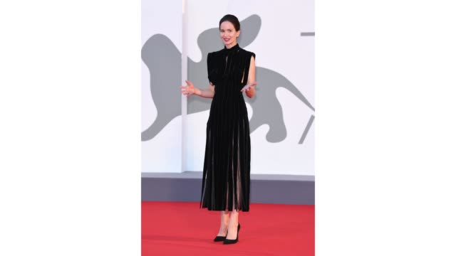 katherine waterston walks the red carpet ahead of the movie the world to come at the 77th venice film festival on september 06 2020 in venice italy - gif stock videos & royalty-free footage