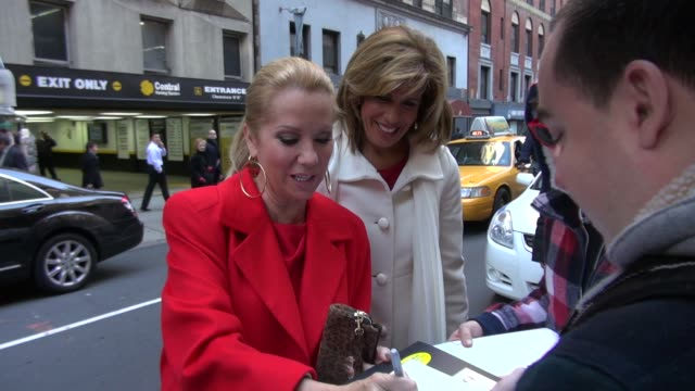 kathie lee gifford and hoda kotb at harvey weinstein's giants super bowl pep rally in new york on 2/1/2012 - kathie lee gifford stock videos & royalty-free footage
