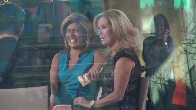 kathie lee gifford & hoda kotb interviewing eva marie saint & colin farrell on the set of the today show in rockefeller center in celebrity sightings... - kathie lee gifford stock videos & royalty-free footage