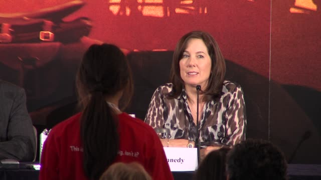 kathleen kennedy on how movies can bring to life things like war for young people to understand at the war horse press conference part one at... - claridge's stock videos & royalty-free footage