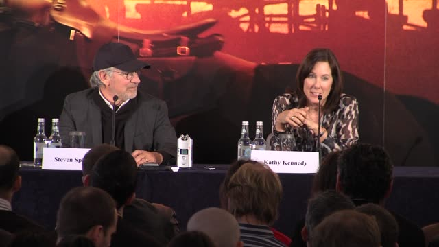 kathleen kennedy on the weather and interview steven spielberg on the skies not being digitally enhanced on film at the war horse press conference... - claridge's stock videos & royalty-free footage