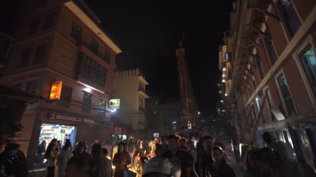 kathmandu street scene at night, bunga dyah chariots - kathmandu stock videos & royalty-free footage