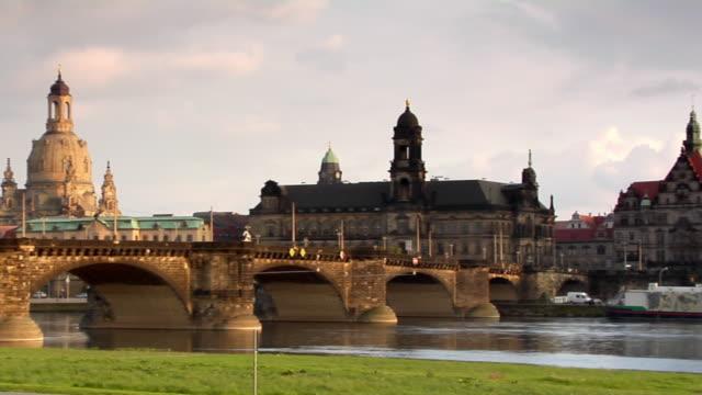 ws, pan, katholische hofkirche and augustus bridge, dresden, germany - hofkirche stock videos & royalty-free footage