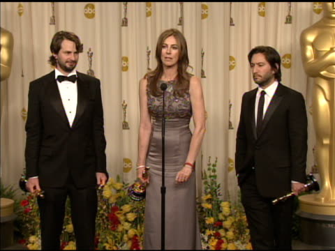 kathryn bigelow on winning against exhusband james cameron at the 82nd annual academy awards press room at hollywood ca - maglietta senza maniche video stock e b–roll
