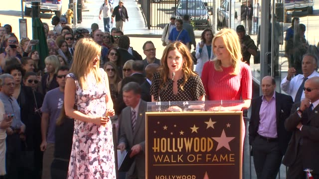 kathryn hahn and malin akerman on jennifer aniston at jennifer aniston honored with star on the hollywood walk of fame in hollywood, ca, on 2/22/12 - キャスリン ハーン点の映像素材/bロール