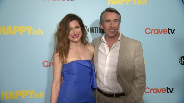 kathryn hahn and steve coogan at the showtime premiere of the original comedy series happyish at sunshine cinema on april 20 2015 in new york city - showtime video stock e b–roll