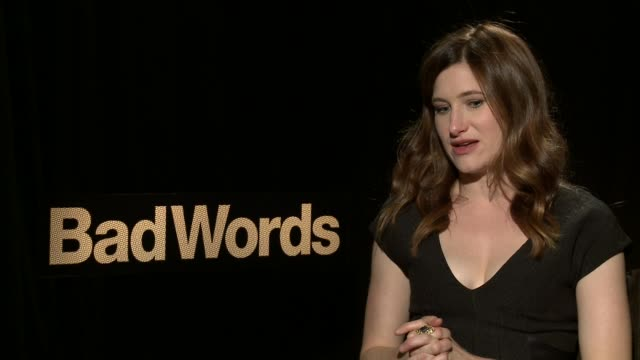 """kathryn hahn on getting her role at the """"bad words"""" los angeles press junket, february 21 2014 - キャスリン ハーン点の映像素材/bロール"""