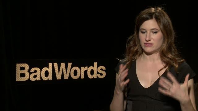 "kathryn hahn on jason bateman as a director at the ""bad words"" los angeles press junket, february 21 2014 - キャスリン ハーン点の映像素材/bロール"