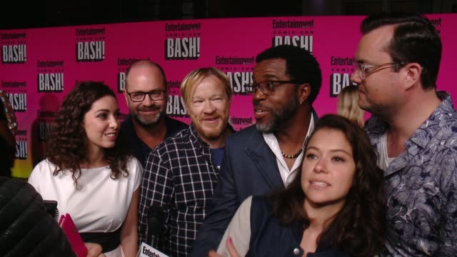 interview kathryne alexandre graeme manson john fawcett kevin hanchard tatiana maslany kristian bruun from orphan black at entertainment weekly hosts... - orphan stock videos and b-roll footage
