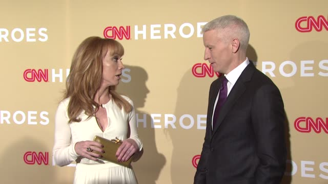 kathy griffin and anderson cooper at 2014 cnn heroes an all star tribute red carpet at american museum of natural history on november 18 2014 in new... - cnn stock videos & royalty-free footage
