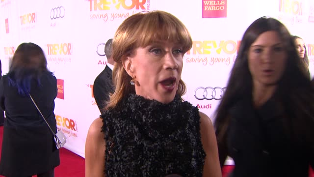 kathy griffin on hosting this years event, being a past trevor poject honoree and why jane lynch deserves the honor at trevorlive los angeles benefit... - 12 13 years stock videos & royalty-free footage