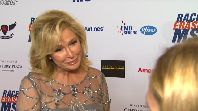 kathy hilton on being a part of the night what she's most looking forward to at 19th annual race to erase ms glam rock to erase ms on 5/18/12 in los... - race to erase ms stock videos and b-roll footage