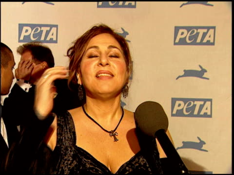 kathy najimy on what she loves about peta at the peta's 25th anniversary gala and humanitarian awards show at paramount studios in hollywood... - paramount studios stock videos and b-roll footage