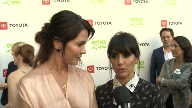 interview katie aselton and constance zimmer at the 29th annual environmental media awards at montage beverly hills on may 30 2019 in beverly hills... - environmental media awards stock videos & royalty-free footage