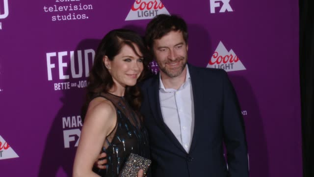 """katie aselton, mark duplass at premiere of fx network's """"feud: bette and joan"""" in los angeles, ca 3/1/17 - fx network stock videos & royalty-free footage"""