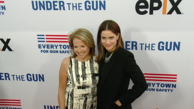 katie couric and amanda peet at the under the gun los angeles premiere at samuel goldwyn theater on may 03 2016 in beverly hills california - samuel goldwyn theater stock videos & royalty-free footage