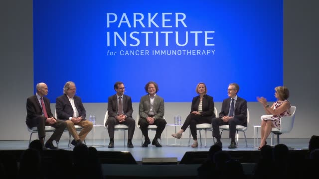 katie couric dr jedd wolchok dr crystal mackall dr antoni ribas dr lewis lanier dr jim allison dr carl june at sean parker and the parker foundation... - allison parker stock-videos und b-roll-filmmaterial