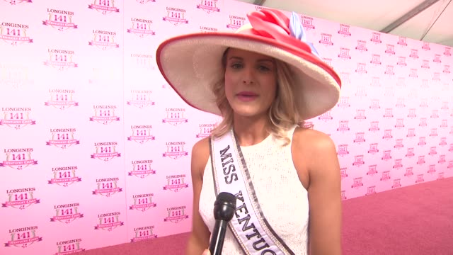 interview katie george on being miss kentucky and being at the oaks at 2015 kentucky oaks on may 01 2015 in louisville kentucky - reginetta di bellezza video stock e b–roll
