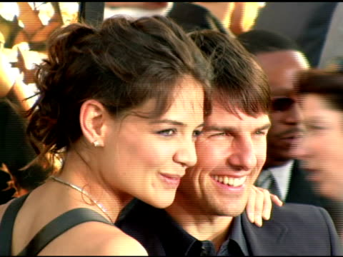 katie holmes and tom cruise at the batman begins premiere at grauman's chinese theatre in hollywood california on june 6 2005 - tom cruise stock videos & royalty-free footage