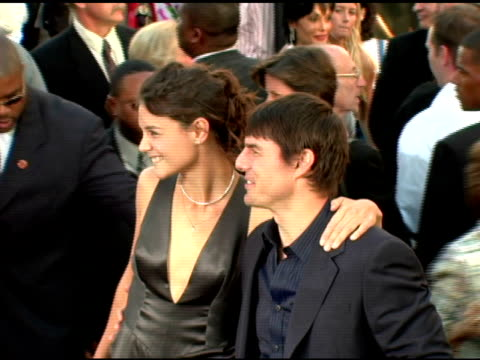 katie holmes and tom cruise at the batman begins premiere at grauman's chinese theatre in hollywood california on june 6 2005 - katie holmes stock videos and b-roll footage