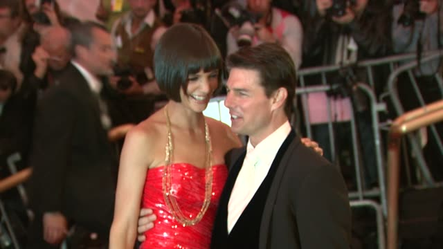 katie holmes and tom cruise at the superheroes fashion and fantasy costume institute gala at the metropolitan museum of art at the metropolitan... - tom cruise stock videos & royalty-free footage