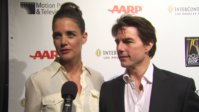katie holmes and tom cruise on why it's important for people in the entertainment industry to support the motion picture and television fund at the... - tom cruise stock videos & royalty-free footage