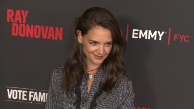 """katie holmes at for your consideration screening and panel for showtime's """"ray donovan"""" - red carpet at paramount theater on the paramount studios... - showtime video stock e b–roll"""